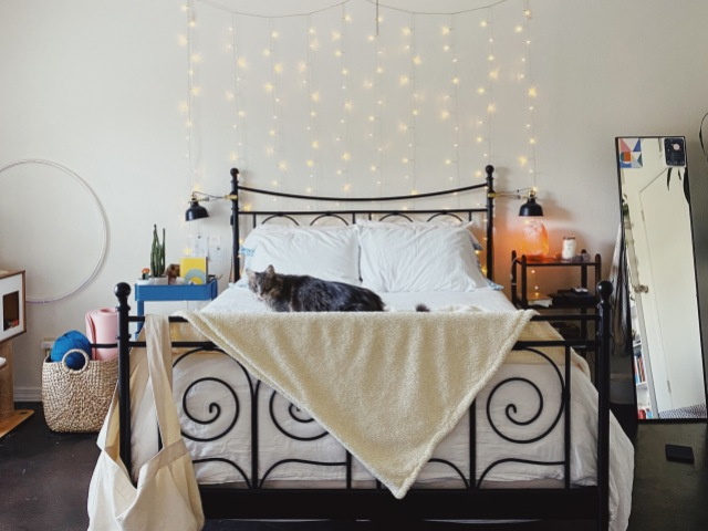 laneia's very cute bedroom with diffuser and string lights