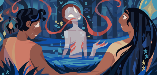 An illustration of a brown person with short black hair holding the hand of a brown person with long black hair, talking to a supernatural creature who is explaining something to them. They're sitting in a magical forest area.