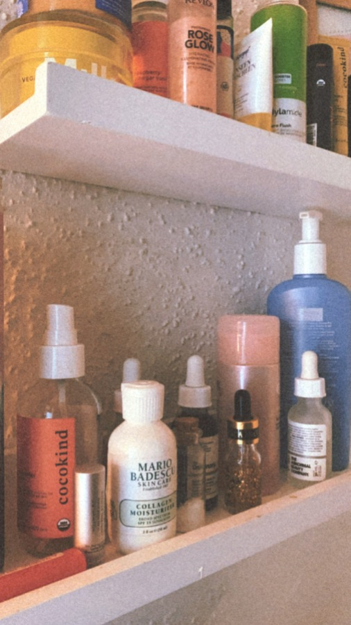A view of Shelli's bathroom shelf, complete with many a skincare potion!