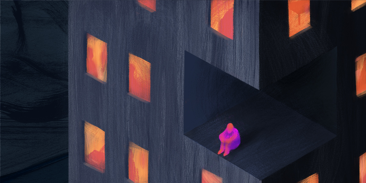 Image shows a grey building with orange windows. I pink human figure sits with their hands around their knees in a cut-out portion of the building.