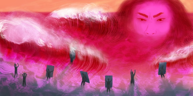 A woman glares across a pink and red ocean. Tiny people hold up boards to try to block the waves.