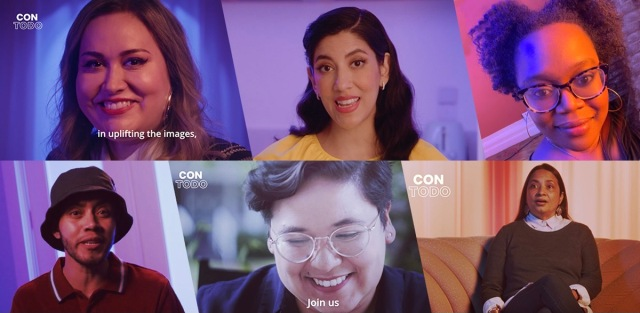 """A collage of people in the Netflix Con Todo documentary series """"Visions of Us,"""" L to R on the top row: Tanya Saracho, Stephanie Beatriz, Carmen Phillips. L to R on the bottom row: Garcia, Yvonne Marquez, Aurora Guerrero"""