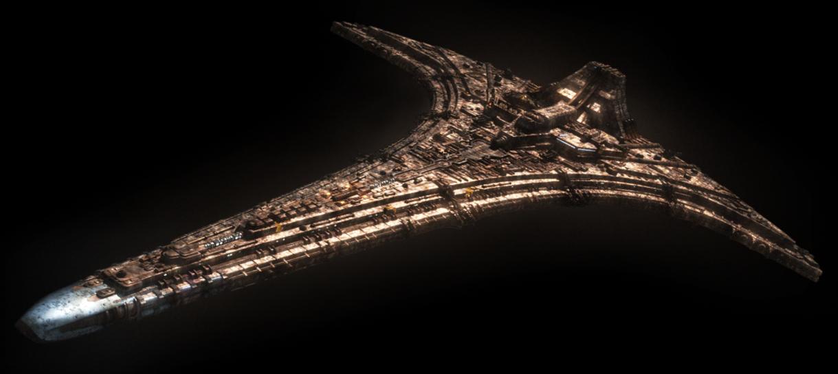 the giant starship Destiny from Stargate Atlantis against a backdrop of black space