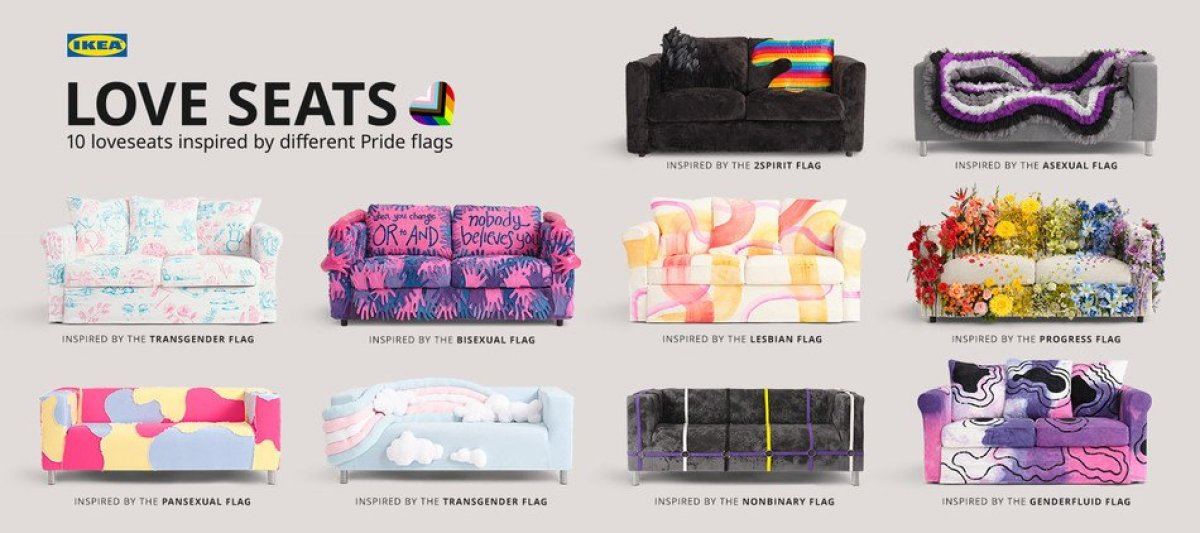 A collage of Ikea couches, decorated in the various colors of different gay pride flags.