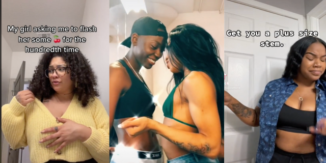 """Image shows 3 photos together. The first shows a person in a yellow sweater with words above them that say """"When your girlfriend asks to see your boobs for the hundreth time"""". The second shows two people coming in for what looks like a kiss. the third shows a person with their eyes closed in happiness with words next to them that read """"get you a plus size stem"""""""