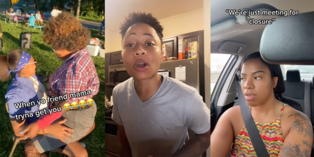 """Image shows 3 images together. The first is of Two Black people and one is sitting on the others lap with text that reads """"When you're friends mama is tryna get you"""". The second image shows A Black person with short hair and a grey shirt talking to the camera. The third shows a Black person in a car with their seatbelt on and text that reads """"When you're just going over for closure"""""""