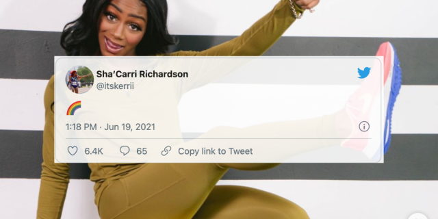 Image Shows a photo of Sha'Carri Richardson wearing an olive colored two piece set and bright color sneakers. On top of the photo is a tweet from her that just shows an emoji of a rainbow