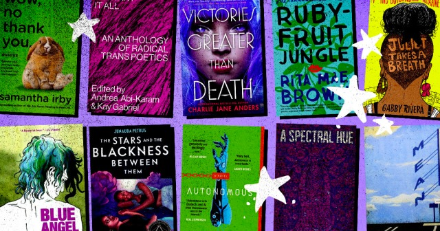 A collage of LGBT book covers on a purple background with hand-drawn stars.