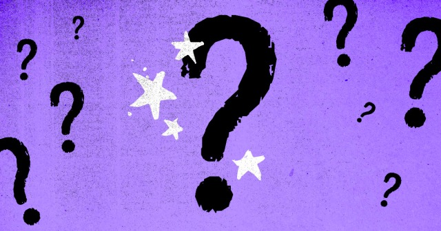 a bunch of question marks against a purple background