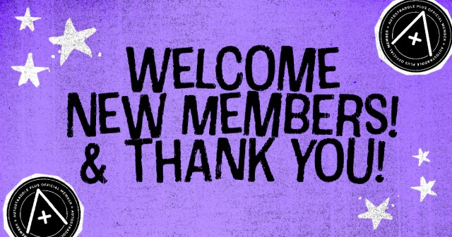 A graphic that readS: Welcome New Members & Thank You! with a purple background, stars, and A+ logos