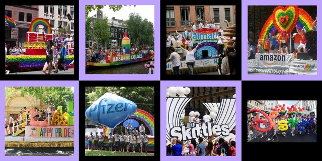 A collage of various corporate pride floats