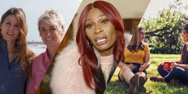 A collage of gay HGTV episodes: an older lesbian couple, trans star Dominique Jackson of Pose, and a younger lesbian couple sitting on grass.