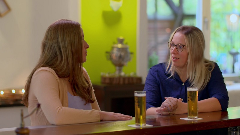 Lydia and Melissa talk about their choices over a pint of German beer.