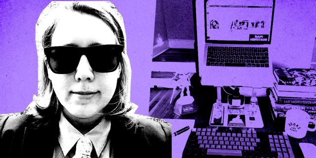 Heather hogan's portrait in xerox black and white, against a purple background with an image of her workspace