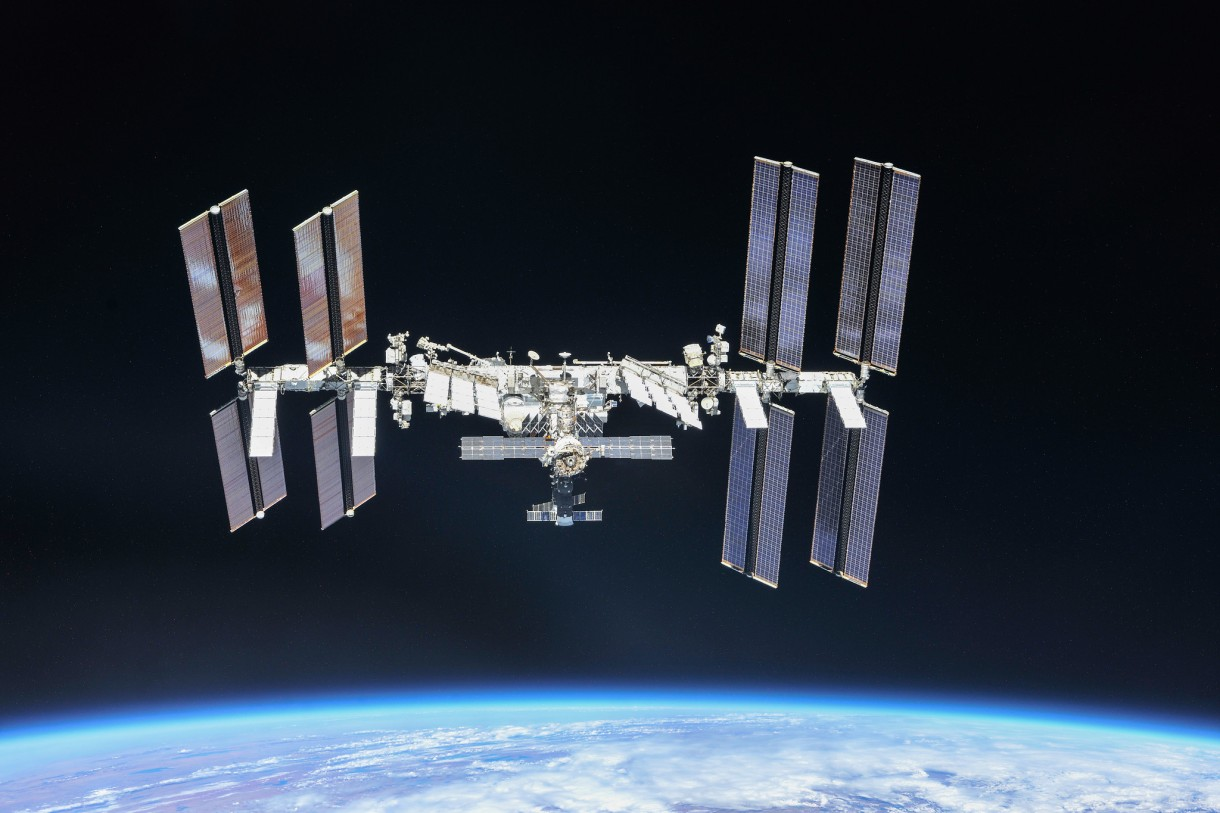 The International Space Station orbiting around Earth
