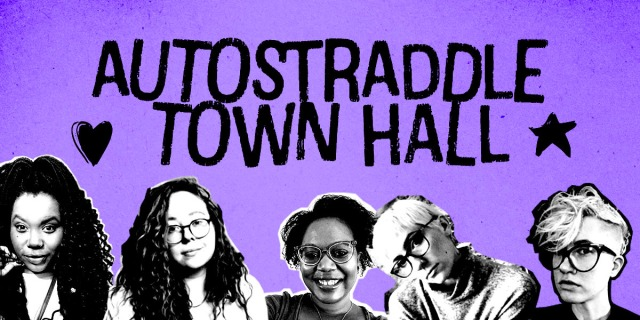 The feature reads: Autostraddle Town Hall. It also has photos of Shelli, Rachel, Carmen, Laneia, and Nicole