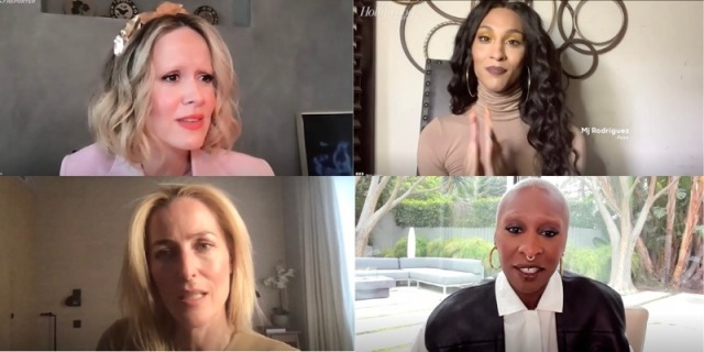 At the THR Roundtable, Sarah Paulson, Mj Rodriguez, Gillian Anderson, and Cynthia Erivo all share one zoom call