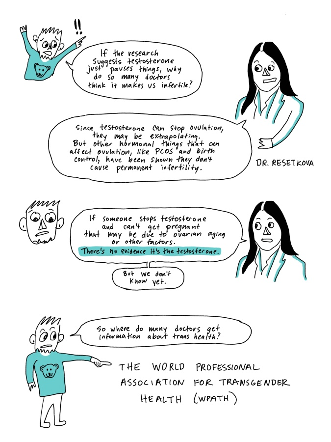 """I am talking with Dr Resetkova. I say, """"If the research suggests testosterone just pauses things, why do so many doctors think it makes us infertile?"""" Dr Resetkova says, """"Since testosterone can stop ovulation, they may be extrapolating. But other hormonal things that can affect ovulation, like PCOS and birth control, have been shown they don't cause permanent infertility. If someone stops testosterone and can't get pregnant that may be due to ovarian aging or other factors. There's no evidence it's the testosterone. But we don't know yet."""" I say, """"So where do doctors get information about trans health?"""" and point to The World Professional Association for Transgender Health (WPATH)"""