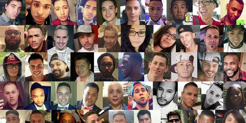A collage of all the lives lost at the shooting at the Orlando gay nightclub Pulse in 2016. Every photo is a close up portrait of each of the 49 faces.