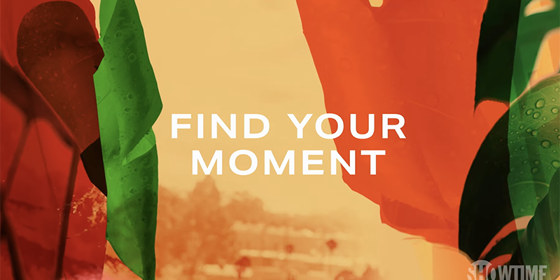 White text on an abstract peach background: Find Your Moment