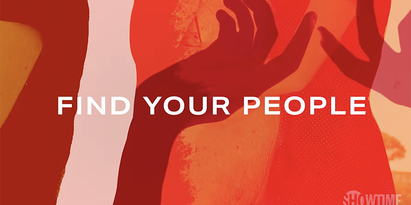White text over an abstract red background: Find Your People