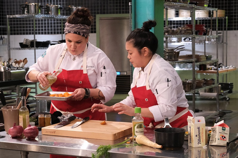"""Jamie and Maria team up in the Quickfire Challenge, this week on """"Top Chef: Portland."""""""