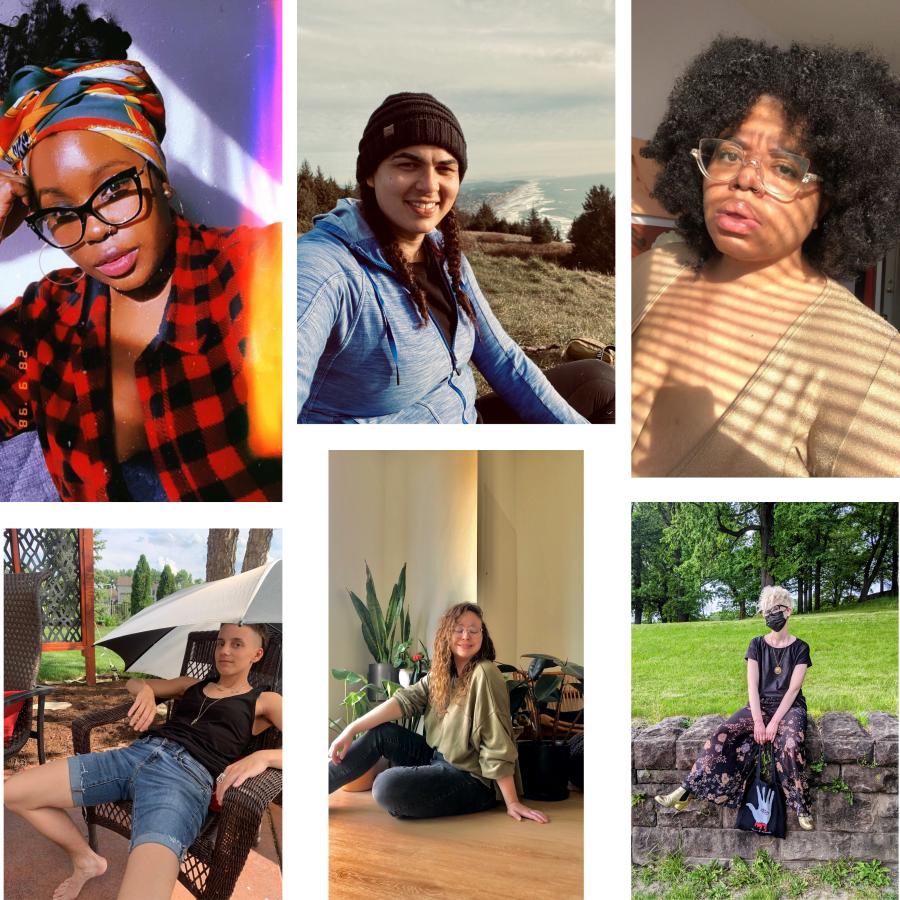a collage of Autostraddle staff members: Shelli, Abeni, Dani, Ro, Rachel, and Nicole