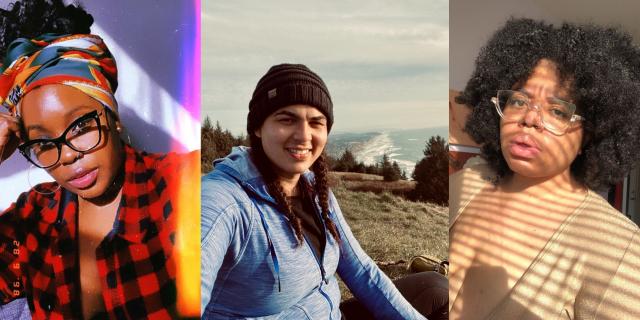 A collage of three Autostraddle staff members, Shelli, Abeni, and Dani