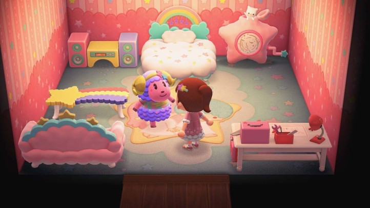 A screenshot of the video game Animal Crossing with what looks to be an almost direct replica of the Ikea trans pride couch