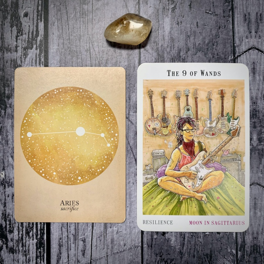 The card for Aries as well as the card for the Nine of Wands
