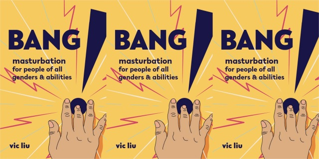 Three repeating images of the cover of BANG!, featuring a large graphic explanation point and a foregrounded hand with fingers reaching into the dot of the exclamation point as if penetrating a hole