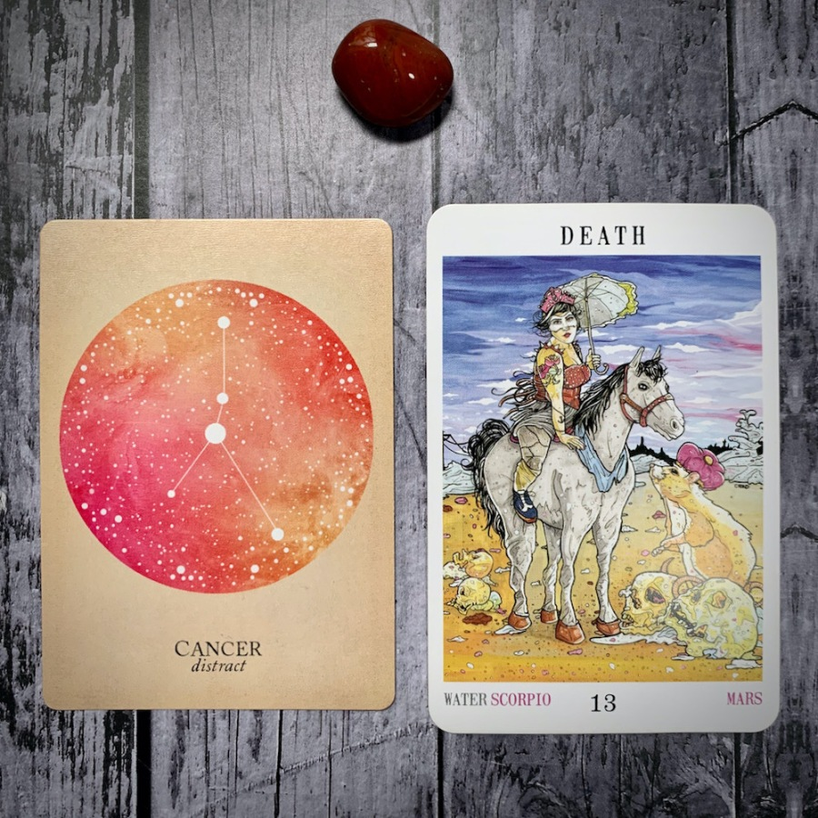 The Cancer constellation card and Death tarot card
