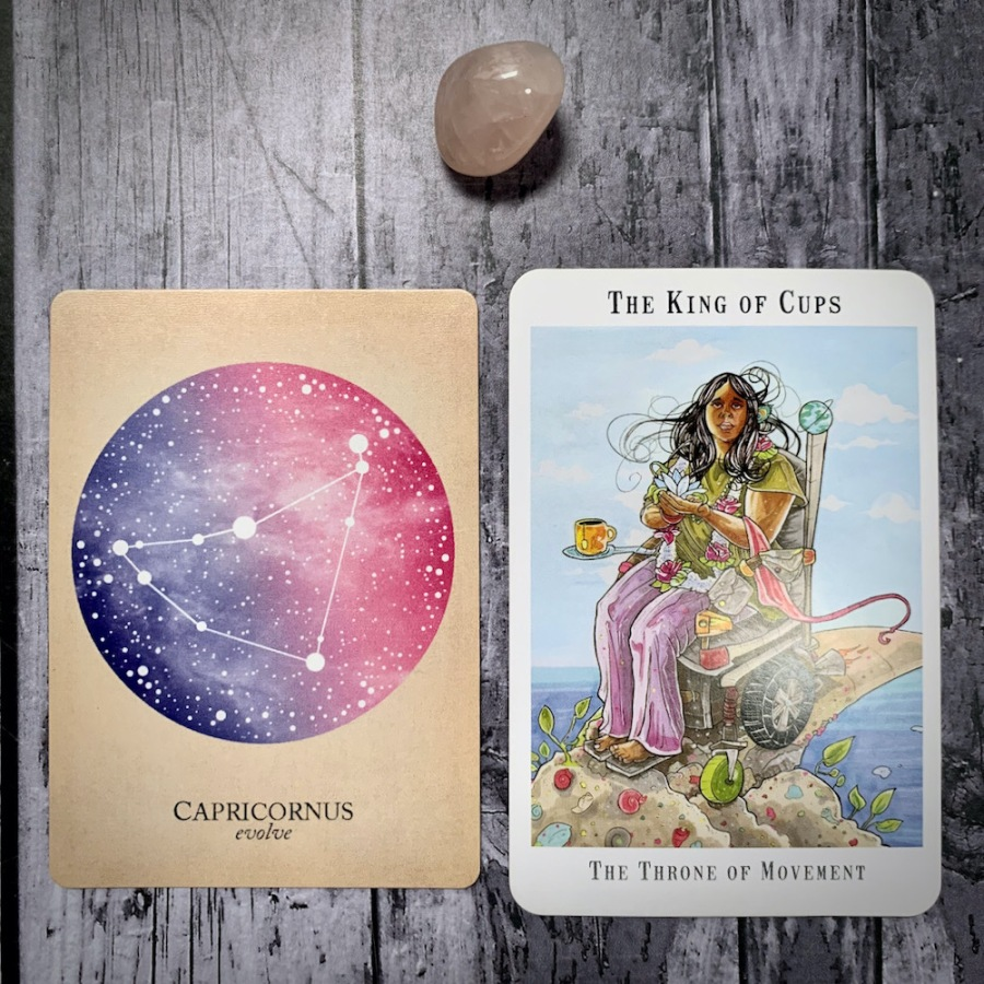 The Capricorn constellation card and King of Cups tarot card
