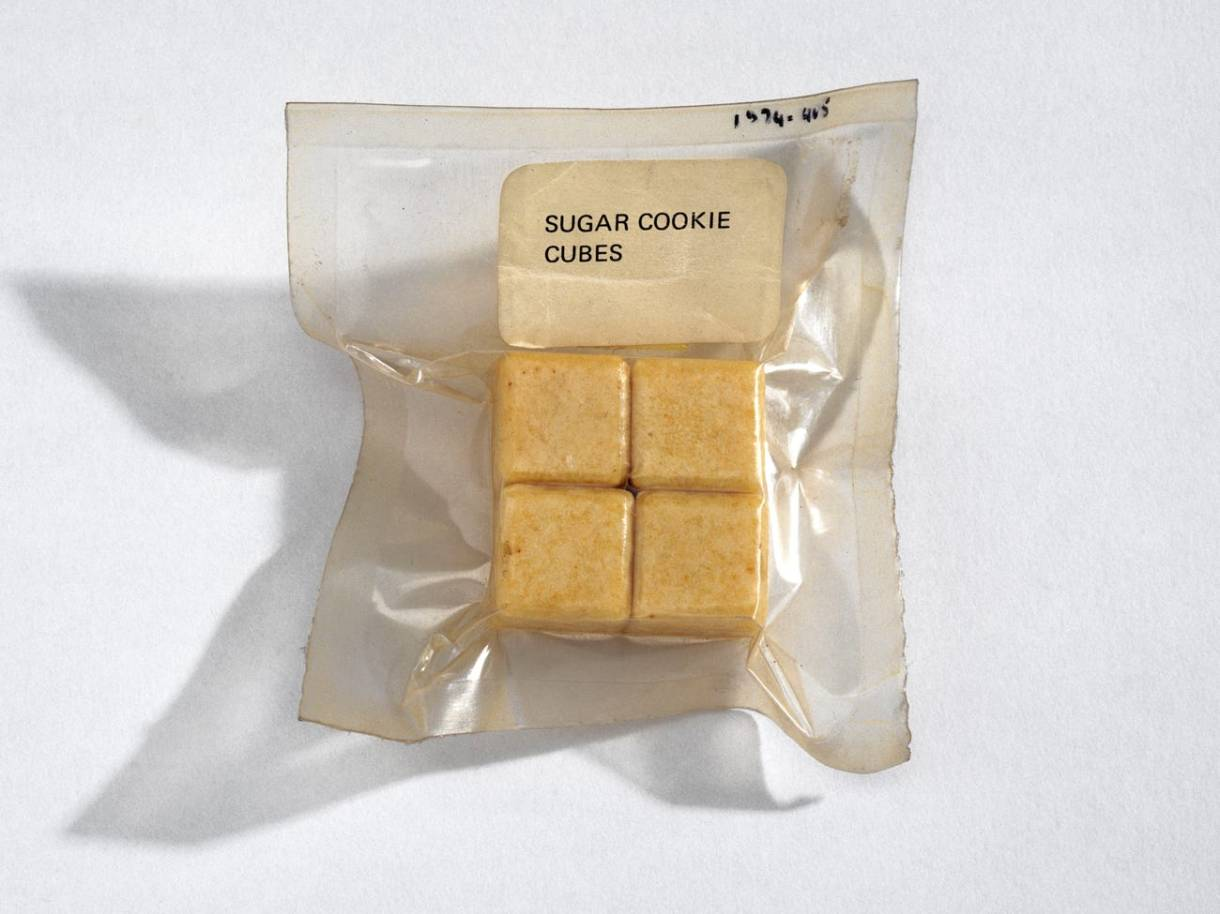 A clear plastic vaccum seal bag with four small cubes of light brown food in labelled sugar cookie cubes