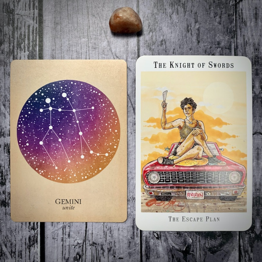 The Gemini constellation card and Knight of Swords tarot card
