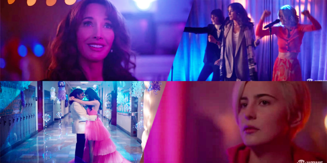 The L Word Generation Q Season 2 Trailer collage: Bette looking serene; Bette, Alice, and Shane on a karaoke stage; Angie in a suit at prom; Finley looking concerned.