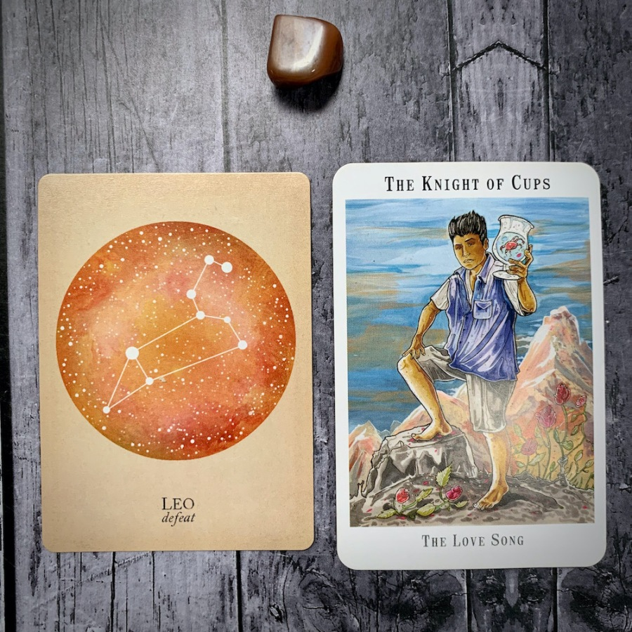 The Leo constellation card and Knight of Cups tarot card