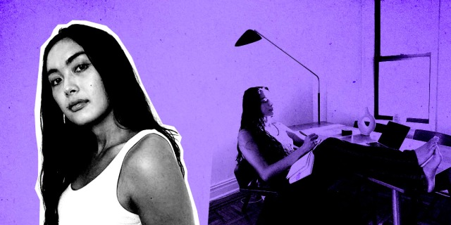 A purple feature. In the background, Xoai sitting at her desk writing in her notebook as light streams through the window. In the foreground, Xoai is cut out in black and white, looking at the viewer.