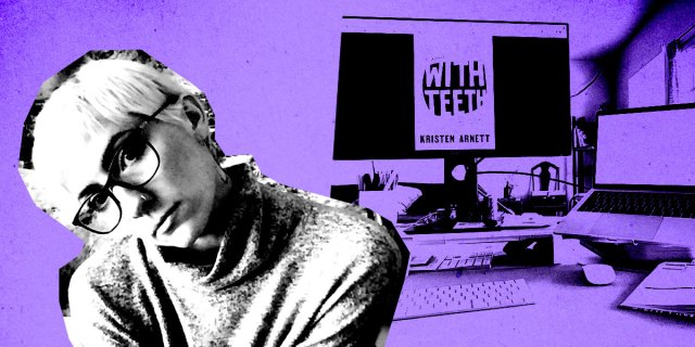 In black and white, laneia leans to the right. the background is purple and features laneia's desk setup