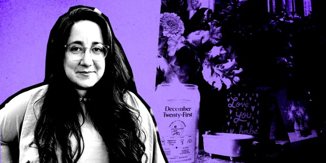 A photo of vanessa, cut out and in black and white, with a closeup of some objects (flowers, candles) from her desk blended into the background which is purple.