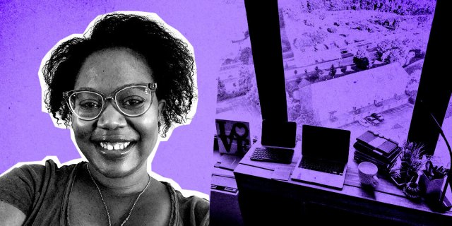 Carmen's photo is in black and white, collaged against her desk in the background in shades of black and purple