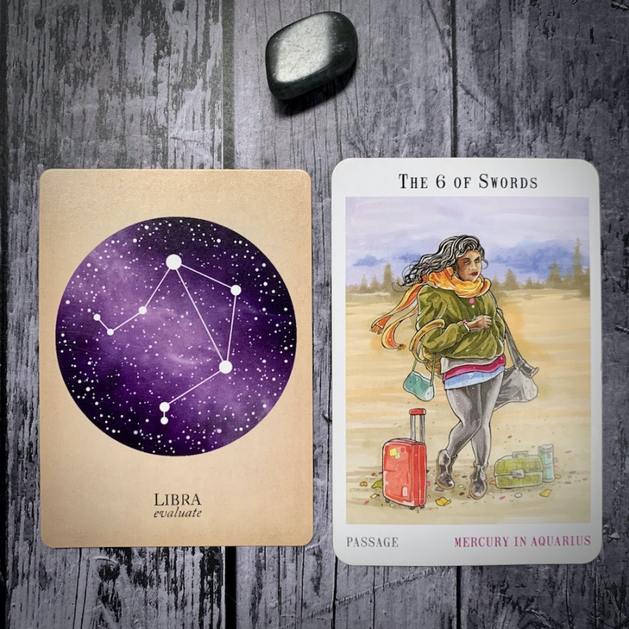 The Libra constellation card and the 6 of Swords tarot card