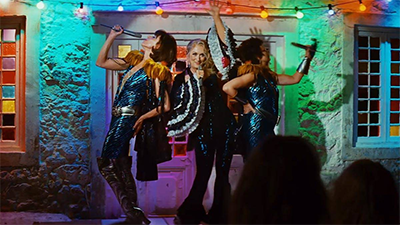 A still from a musical performance in Mama Mia