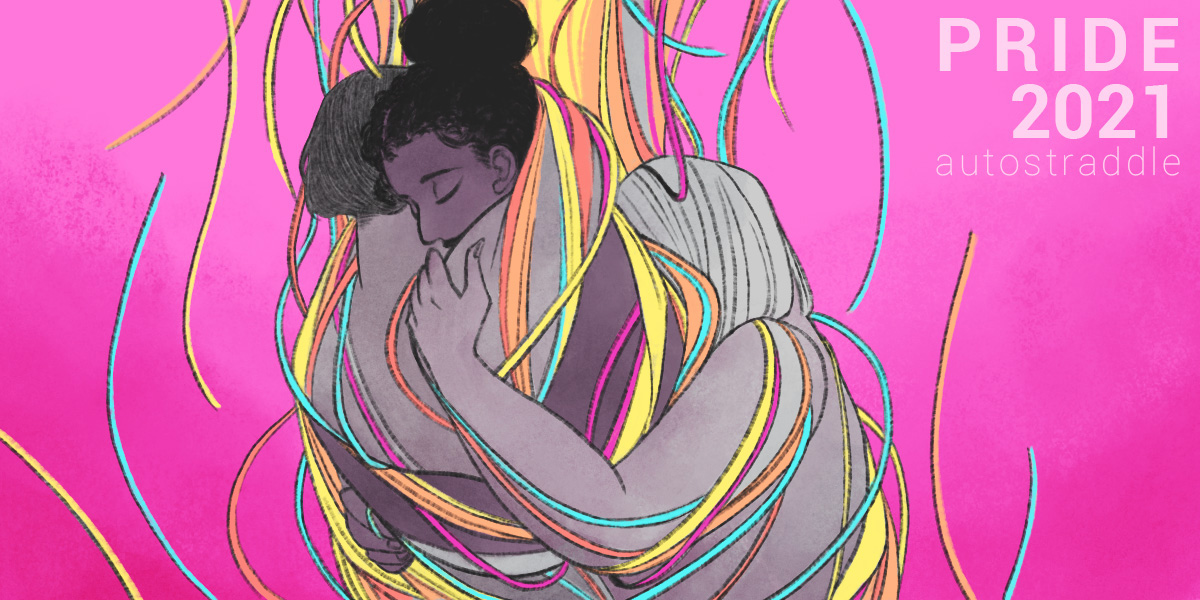 In this illustration, three bodies are intertwined in a group hug. There are colorful fraying strings falling all around them, against a hot pink background.