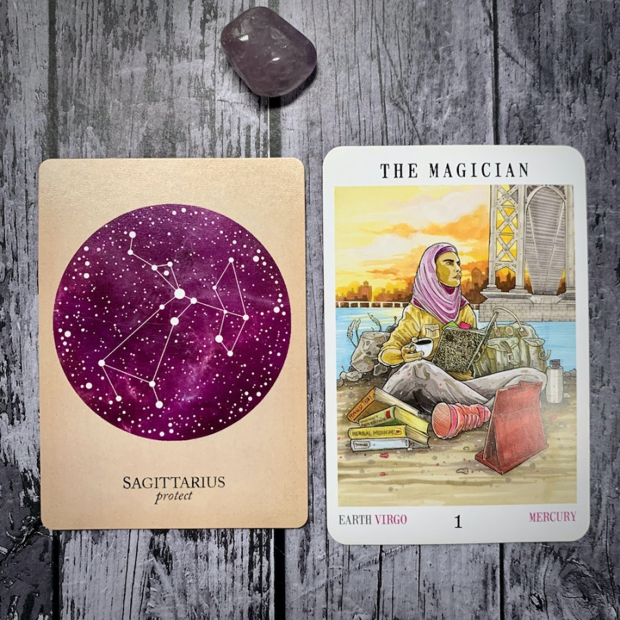 The Sagittarius constellation card and Magician tarot card