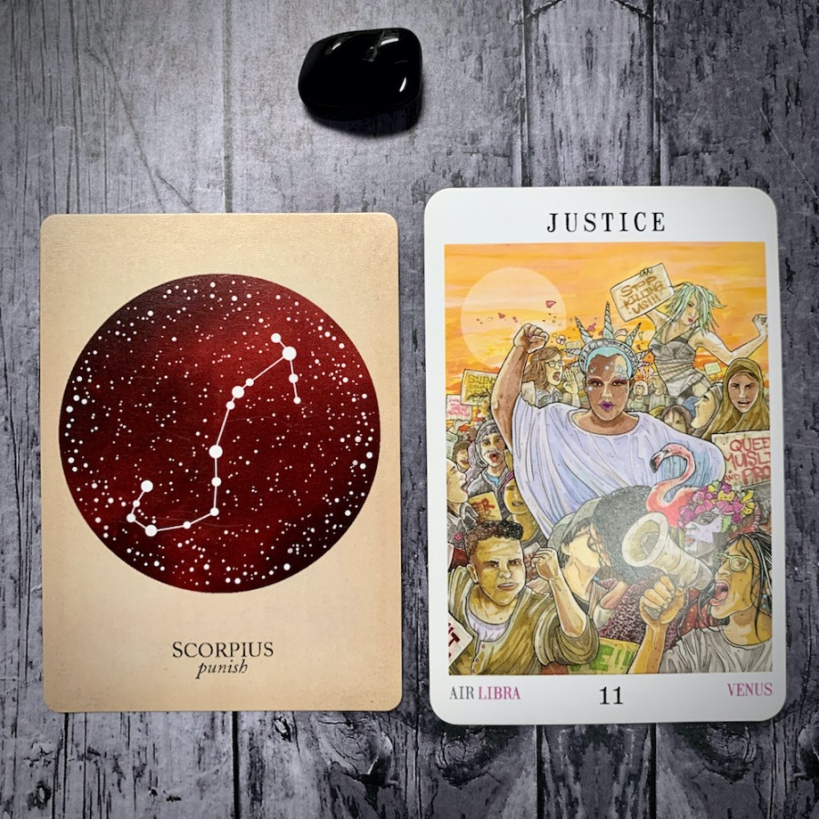 The Scorpio constellation card and Justice tarot card
