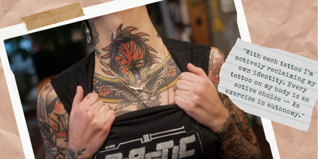 """Image shows the heavily tattooed neck of tattoo artist Sema Dayoub. There is a small note on the site that reads """"""""With each tattoo I'm actively reclaiming my own identity. Every tattoo on my body is an active choice — An exercise in autonomy."""""""