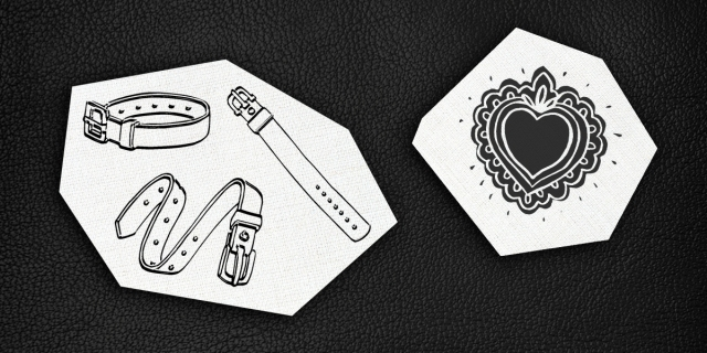 cutouts of black & white prints of collars and a stylized heart on a black leather background