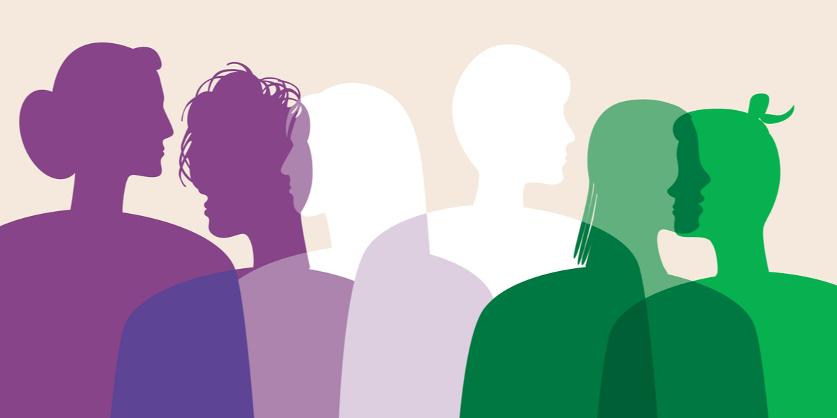 Illustrated silhouettes of the figures of six people from the torso up, in shades of purple, white and green.