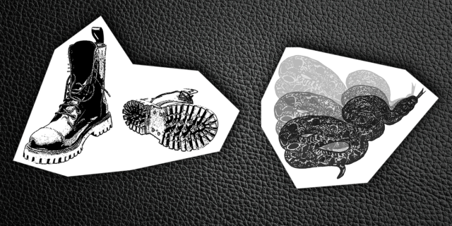 cutouts of black & white prints of a pair of leather boots and a stylized snake on a black leather background
